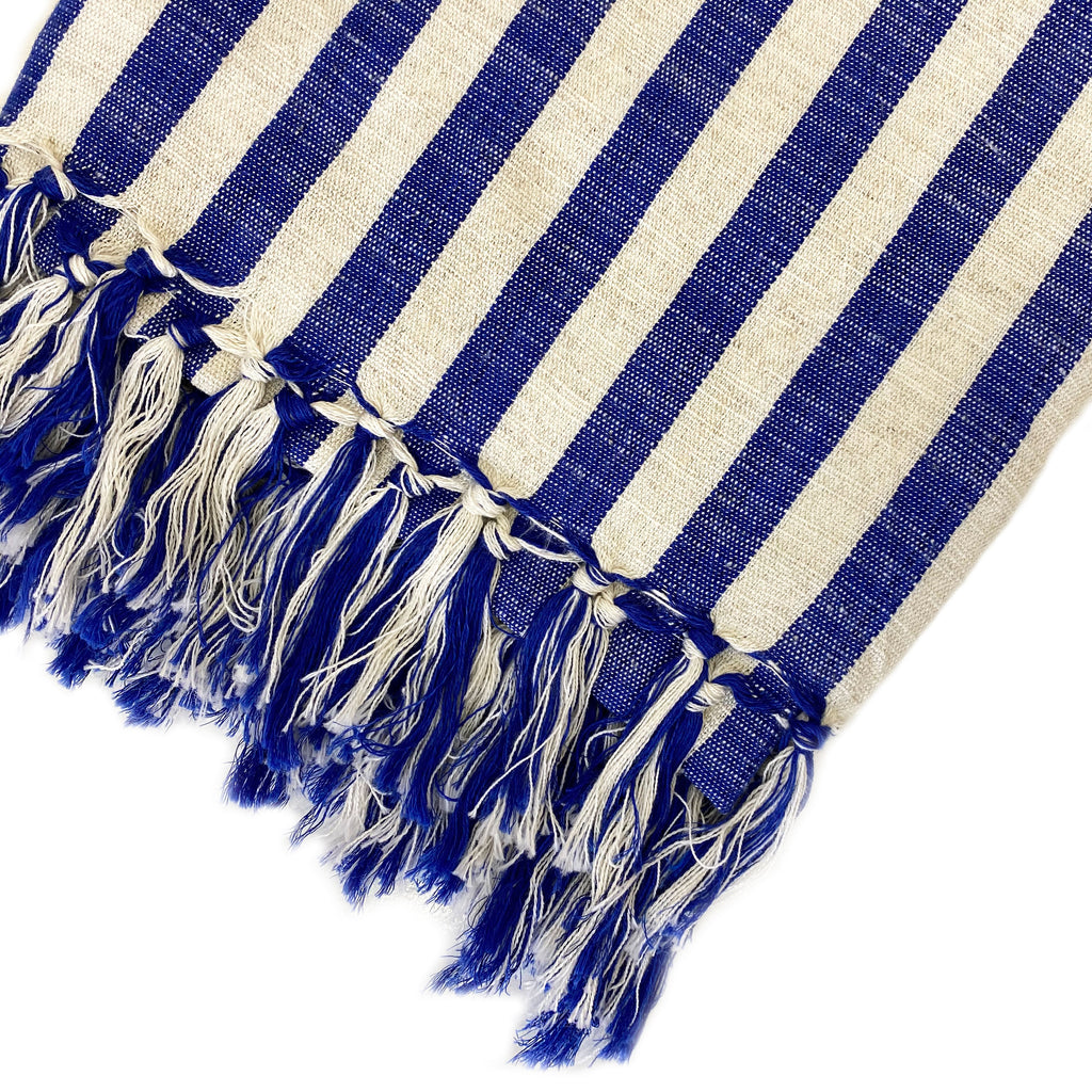 Blue Striped Linen Turkish Towel - H+E Goods Company