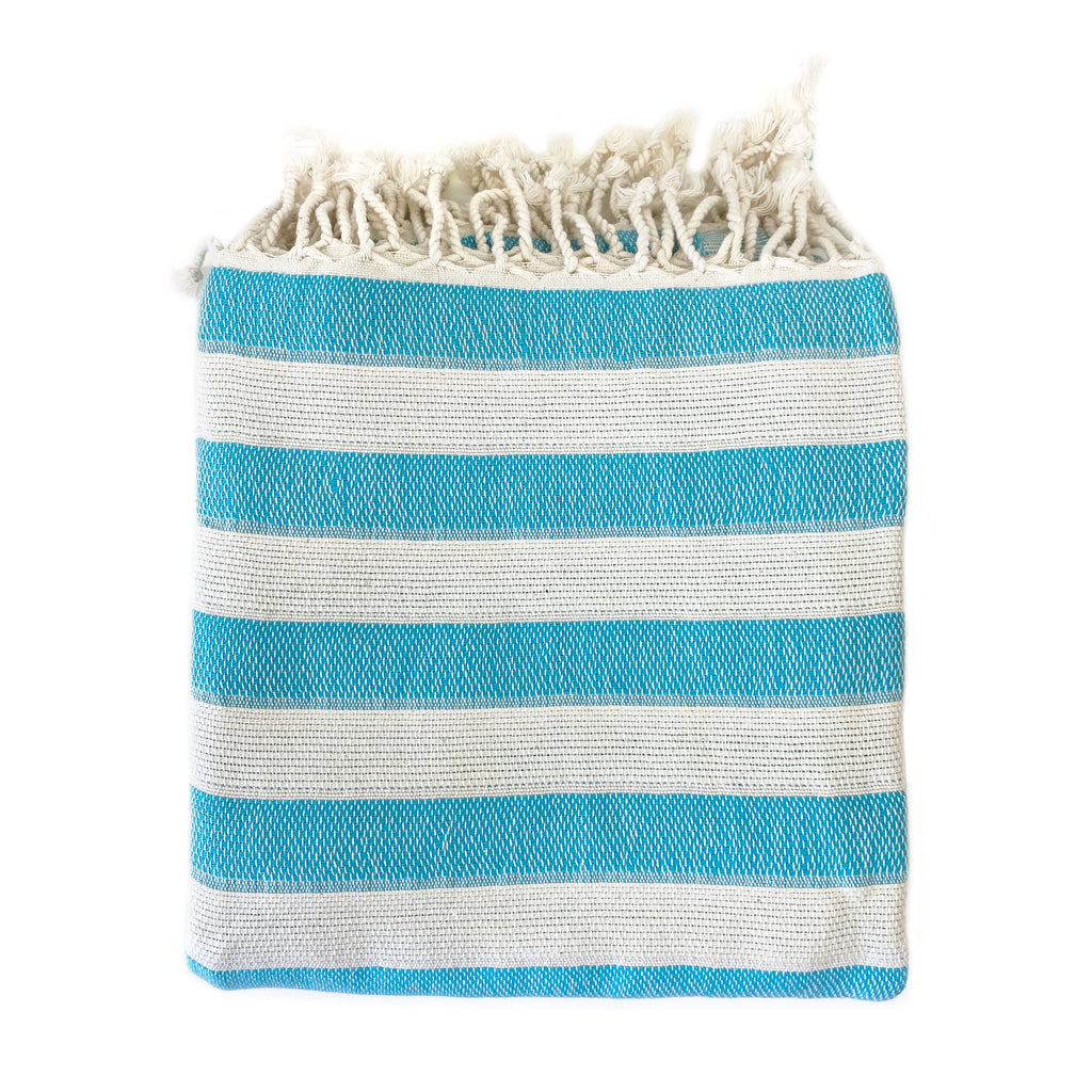 Turquoise Striped Turkish Towel - H+E Goods Company