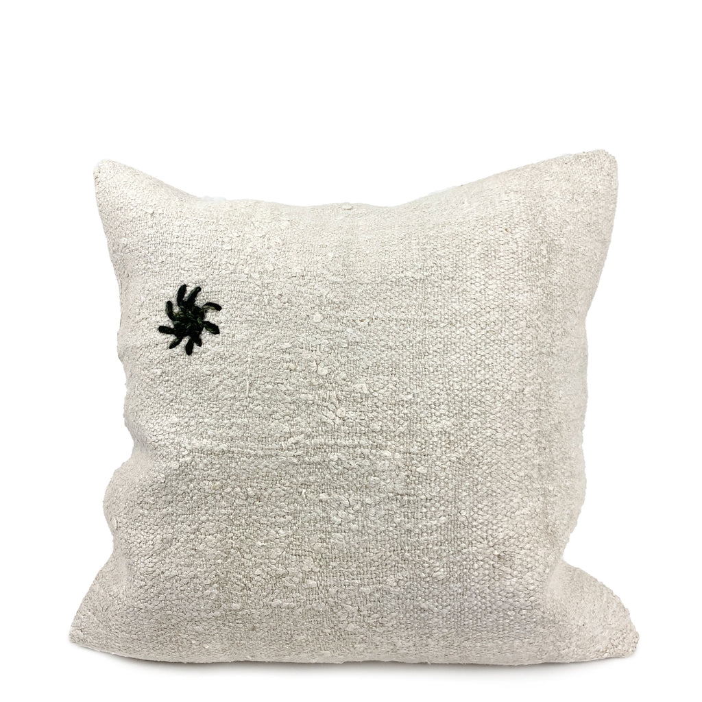 Kinder Embroidery Hemp Pillow - H+E Goods Company