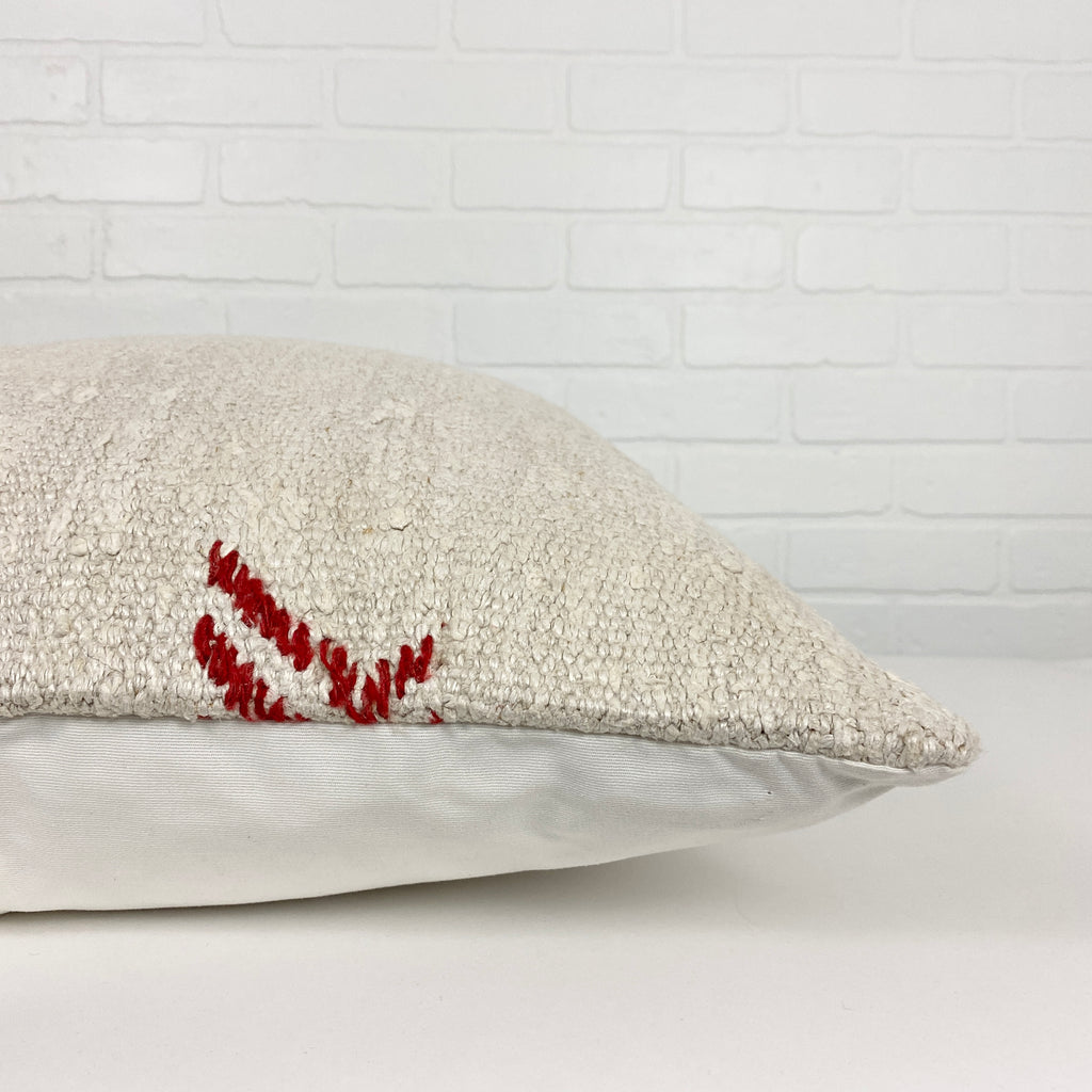 Amber Embroidery Hemp Pillow - H+E Goods Company
