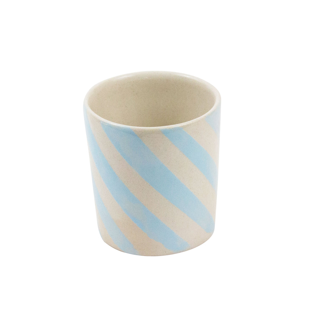 Short Blue Stripes Espresso Cup - H+E Goods Company
