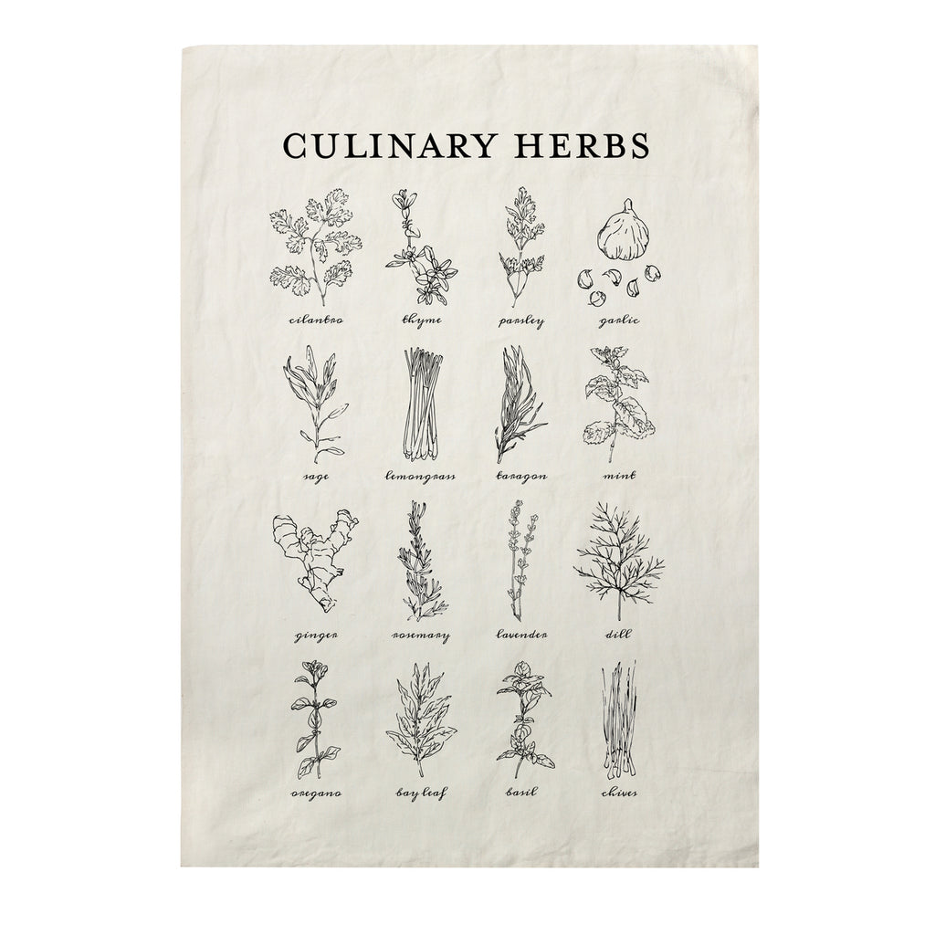 CULINARY HERBS PURE LINEN TEA TOWEL - H+E Goods Company