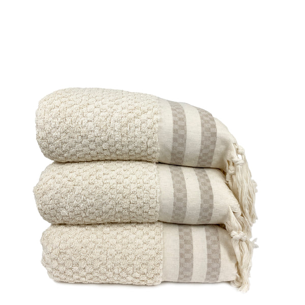 Beige Striped Dot Towel - H+E Goods Company