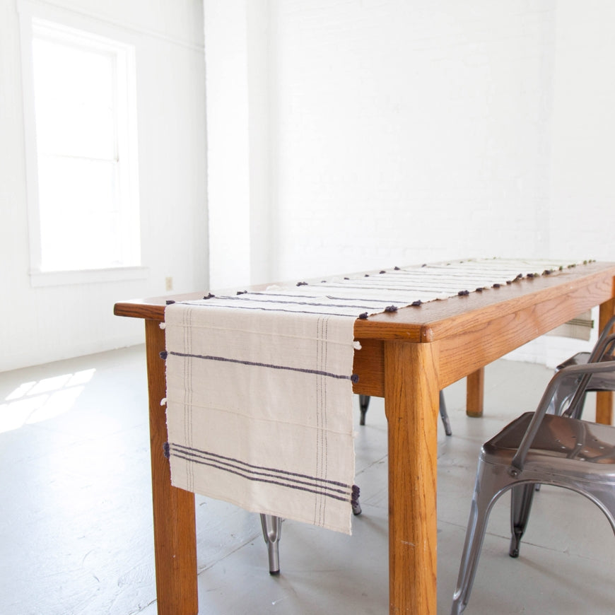 RIBBONS COTTON TABLE RUNNER - H+E Goods Company