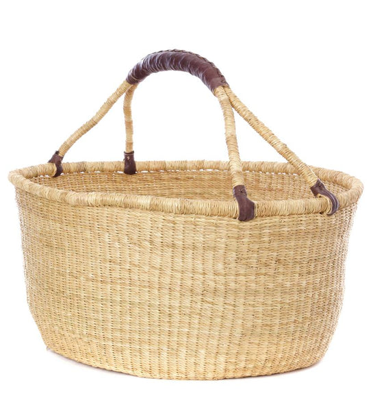 Oversized Bolga Basket With Leather Handle - H+E Goods Company