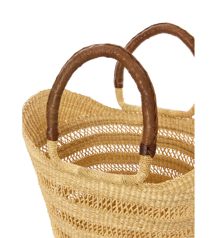 Natural Ghanaian Lacework Wing Shopper with Brown Leather Handles - H+E Goods Company