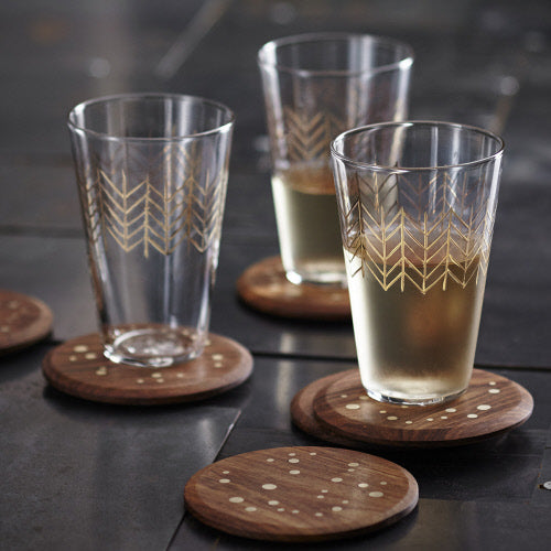Rosewood & Brass Inlay Coaster - H+E Goods Company