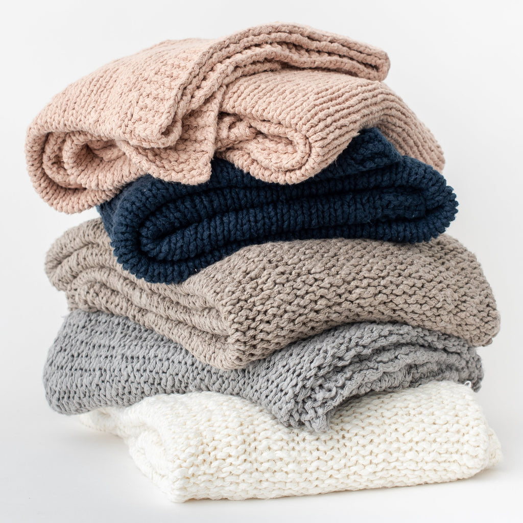 Slub Organic Cotton Knit Throw Blanket - H+E Goods Company