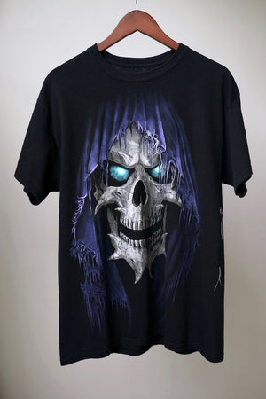 "WSL Customized Vintage Reversible ""Zipper Club"" Reaper Skull T-Shirt"