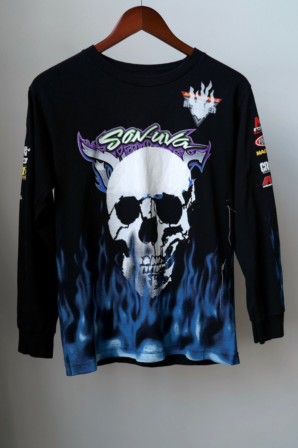 WSL Customized Vintage Reversible L/S Blue Flames T-Shirt
