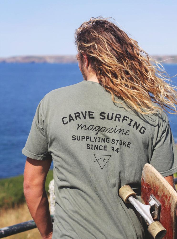 Carve Magazine Surf Shop Carve Stoke Since 94 Mens Tee T-Shirt - Khaki