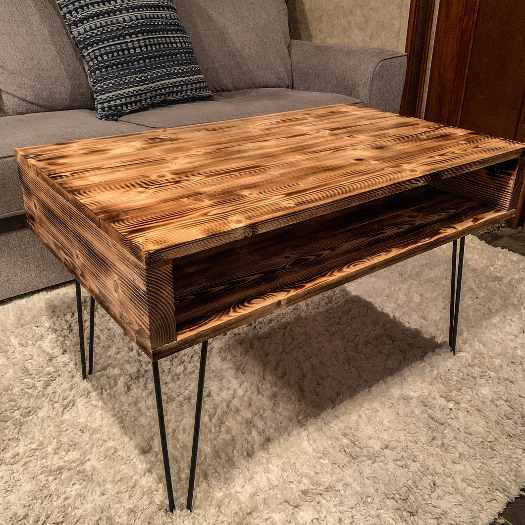 Rustic Modern Coffee Table - Torched