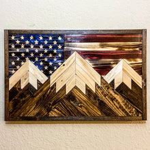 Load image into Gallery viewer, Triple Peak Flag (Hand Carved Stars)
