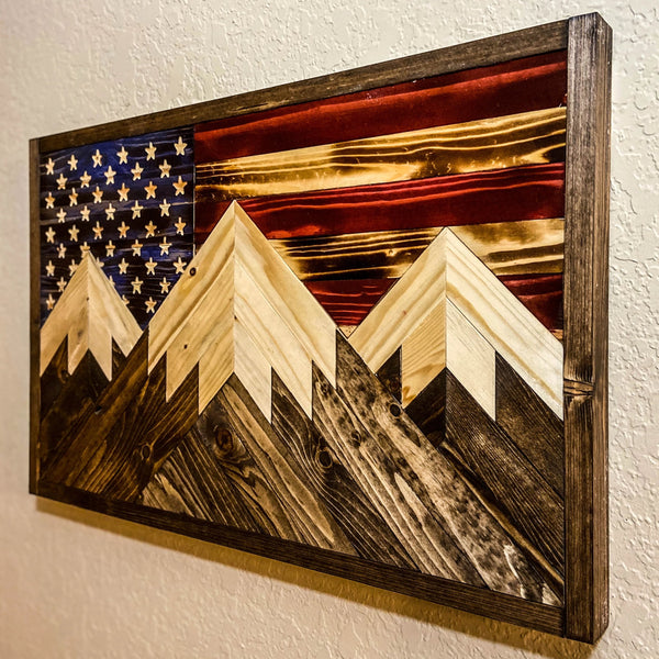 Triple Peak Flag (Hand Carved Stars)