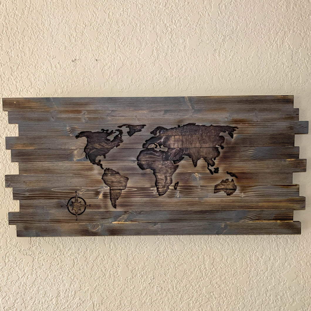 Hand Carved World Map