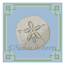 Susan Roberts needlepoint canvas of a sand dollar on a blue background with geometric trim sized for a coaster
