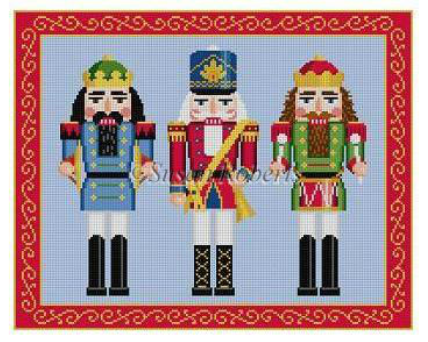 Susan Roberts needlepoint canvas of three traditional nutcrackers - a drummer, a trumpet player, and a cymbal player