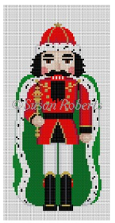 Susan Roberts needlepoint canvas of a traditional nutcracker king with a green cape with ermine trim and a scepter