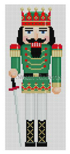 Susan Roberts Christmas needlepoint canvas of a traditional nutcracker with a sword wearing a crown