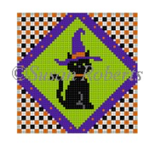 Susan Roberts Halloween needlepoint canvas of a black cat wearing a witch hat with geometric border
