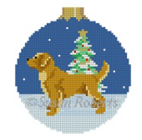 Susan Roberts Christmas ornament needlepoint canvas (round with ball top) of a Golden Retriever dog in the snow with a decorated Christmas tree in the background