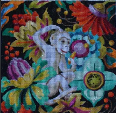 AN163 Floral/ White Monkey