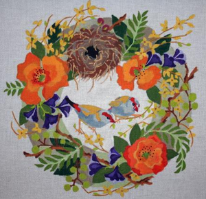 B371 Finches in Spring Wreath