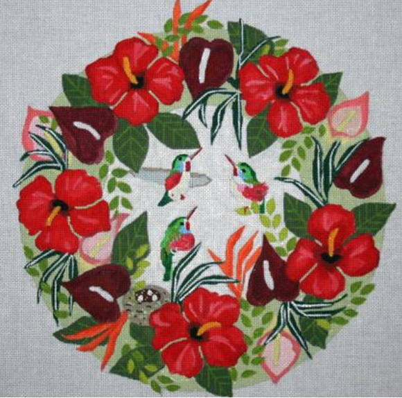 B378 Hummingbird Tropical Wreath
