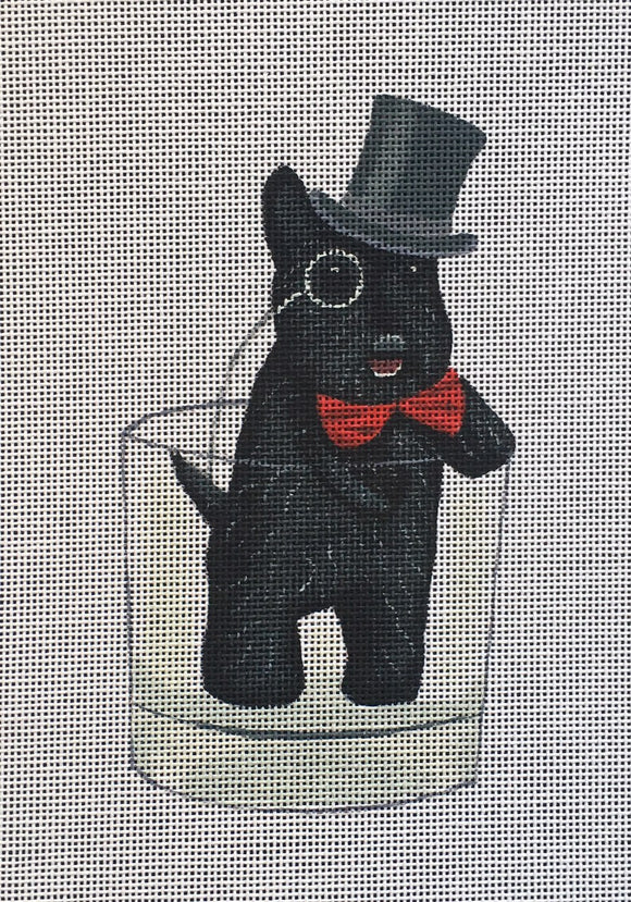 Fab Funky whimsical needlepoint canvas of a Scottie Scottish terrier dog wearing a top hat, bowtie, and monocle looking dapper in a Scotch whiskey glass