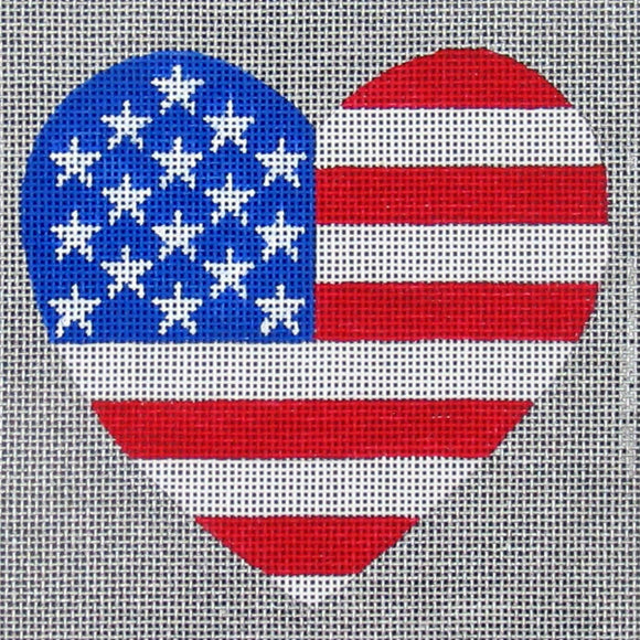 Amanda Lawford patriotic heart needlepoint canvas with the pattern of the American flag
