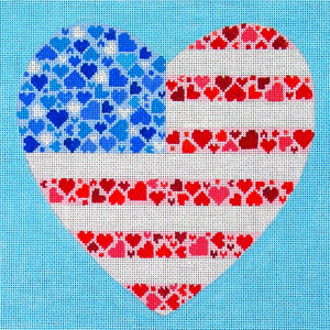 DC designs needlepoint canvas of a heart with the American flag made up of smaller hearts