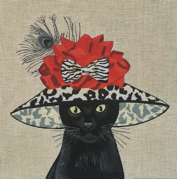 Fab Funky whimsical needlepoint canvas of a black cat wearing a large leopard print hat with a bow and a peacock feather