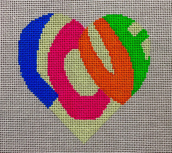 Vallerie Needlepoint Gallery heart canvas with the word love in retro/groovy/hippie lettering on cream background