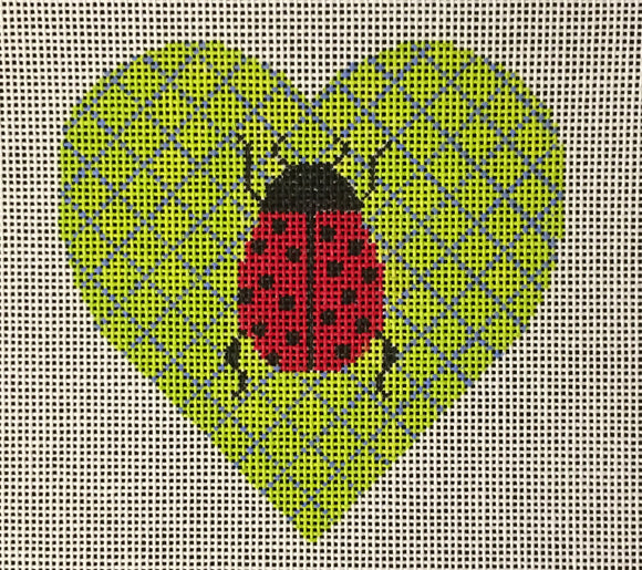 Vallerie Needlepoint Gallery heart needlepoint canvas of a ladybug on a green geometric background