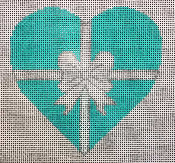 Vallerie Needlepoint Gallery heart needlepoint canvas of a Tiffany jewelry box turquoise with white and silver bow