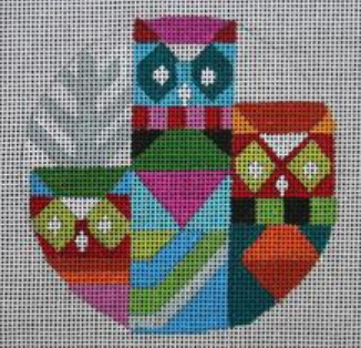 Melissa Prince bright colorful geometric owls round needlepoint canvas with winter trees
