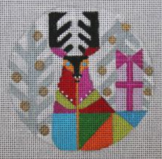 Melissa Prince geometric colorful reindeer with winter trees in the background round needlepoint canvas