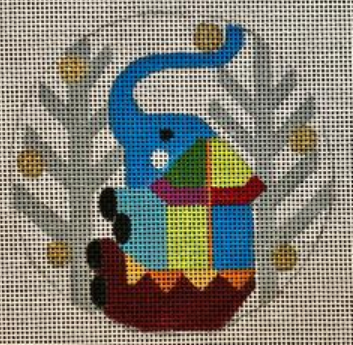 Melissa Prince geometric colorful elephant round needlepoint canvas with winter trees in the background