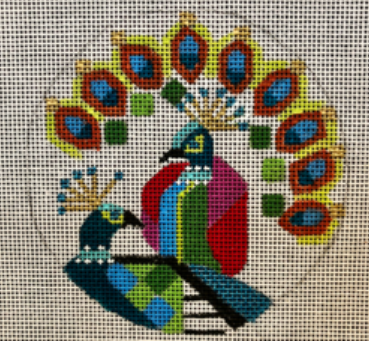 Melissa Prince geometric colorful peacocks circular needlepoint canvas