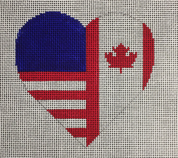 Vallerie Needlepoint Gallery heart canvas split with Canadian and American flags