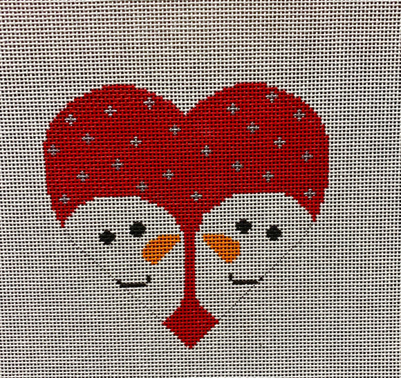 Vallerie Needlepoint Gallery heart canvas of two snowmen facing each other on a red snowy background