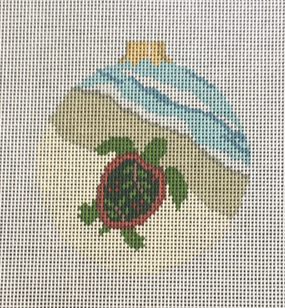 Susan Roberts needlepoint canvas Christmas ornament of a turtle at the beach - perfect for a tropical Christmas!