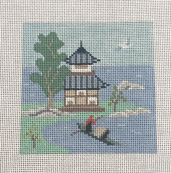 Susan Roberts needlepoint coaster canvas of an oriental building, the sea, and a boat