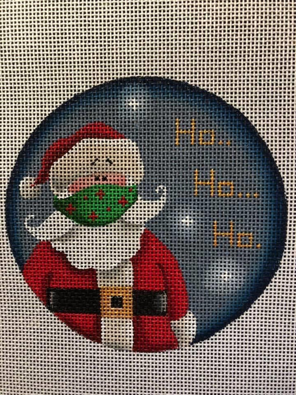 Round Christmas ornament Santa wearing a face mask saying Ho Ho Ho Rebecca Wood needlepoint canvas