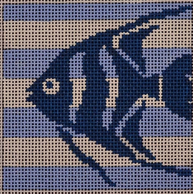 Two Sisters preppy square needlepoint canvas of a stenciled fish on blue and white stripes sized for self-finishing (insert)