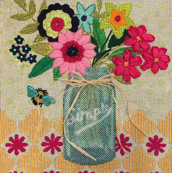 Mason Jar with Flowers Stitch Guide