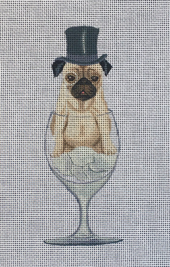 Fab Funky whimsical needlepoint canvas of a pug dog wearing a top hat sitting in a wine glass