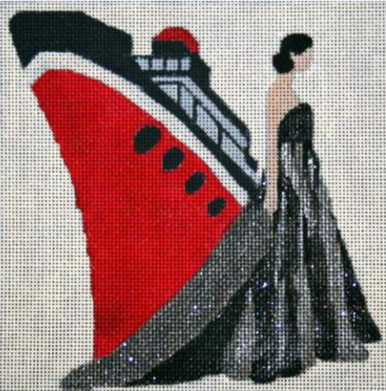 Melissa Prince needlepoint canvas of a woman in a ballgown and a large red ship