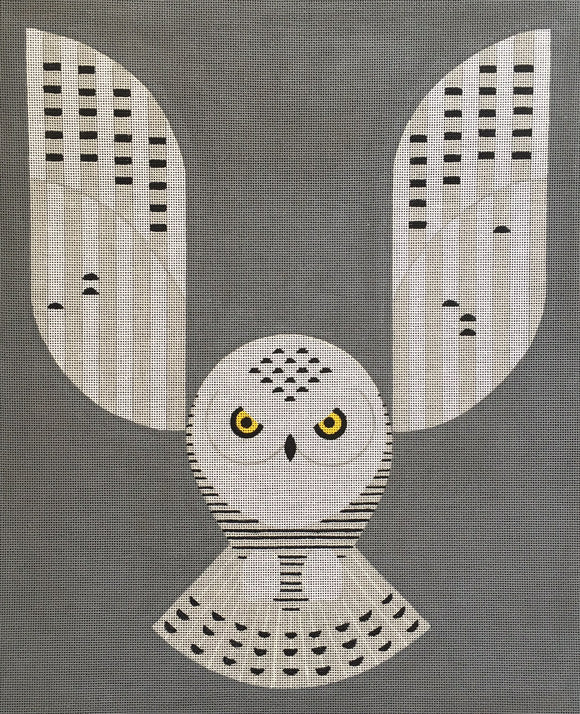 Scott Partridge geometric white snowy owl needlepoint canvas