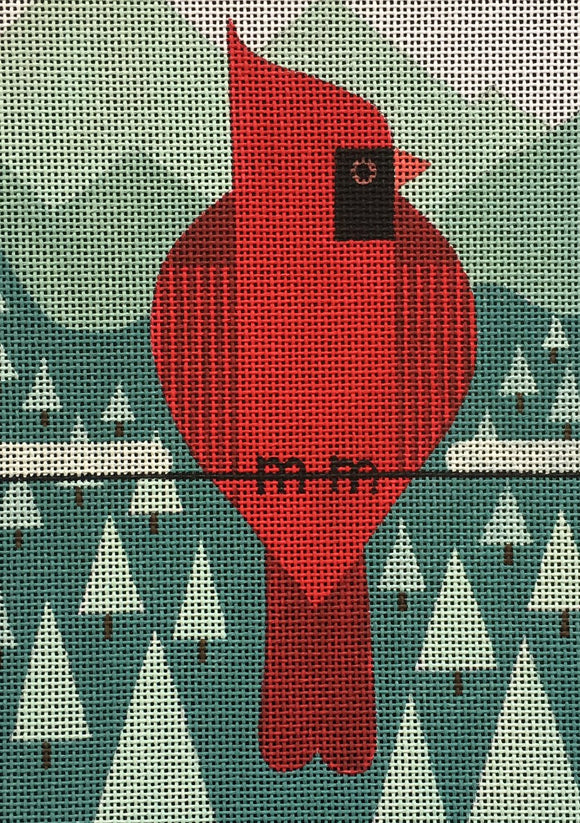 Scott Partridge geometric cardinal on a wire with winter pine tree background needlepoint canvas